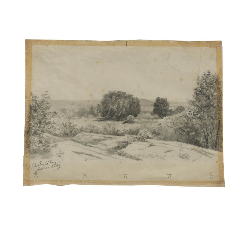 "William T. Richards Graphite Drawing ""Chester Co. Pa"""
