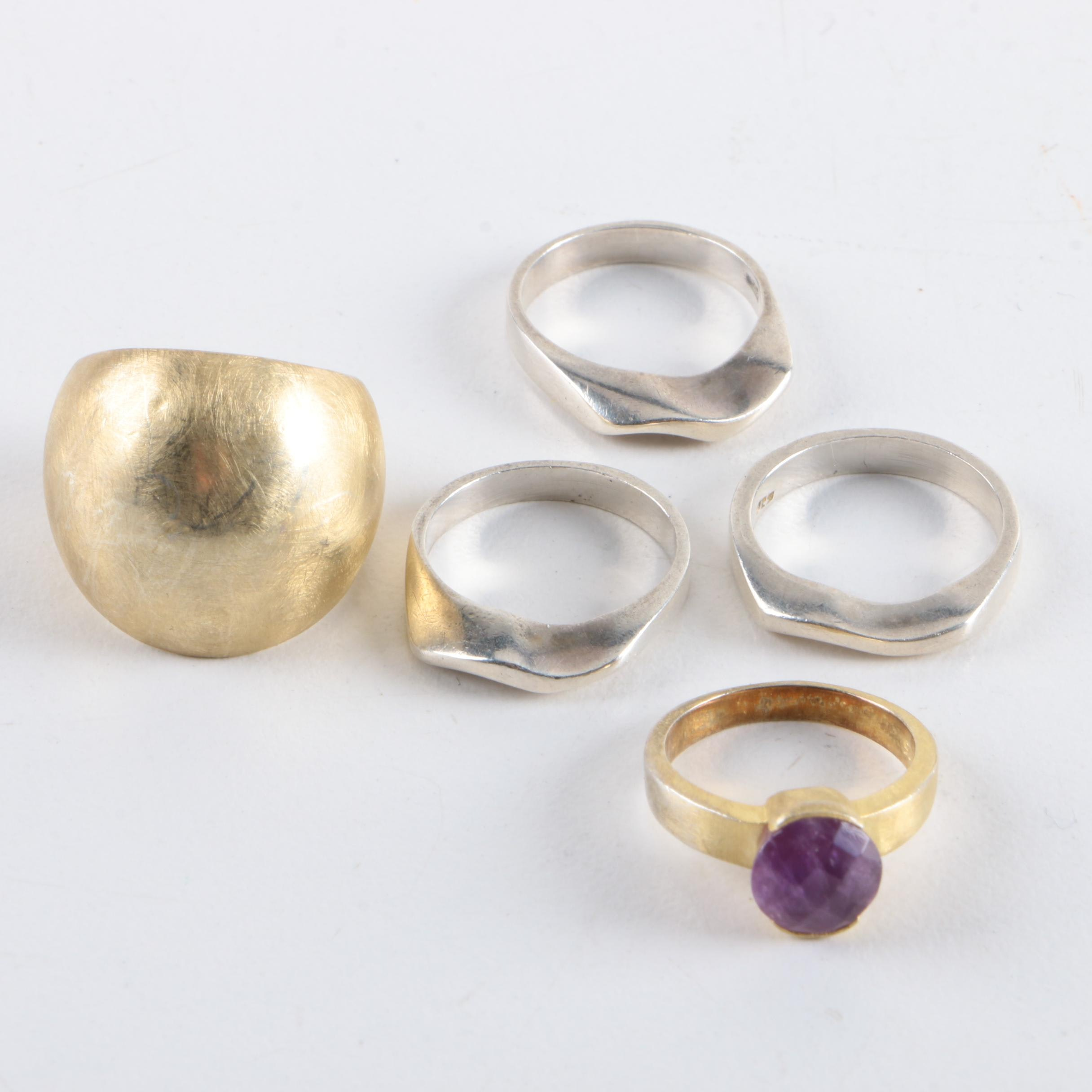 Sterling Silver Rings Including Amethyst and Adam Martucci