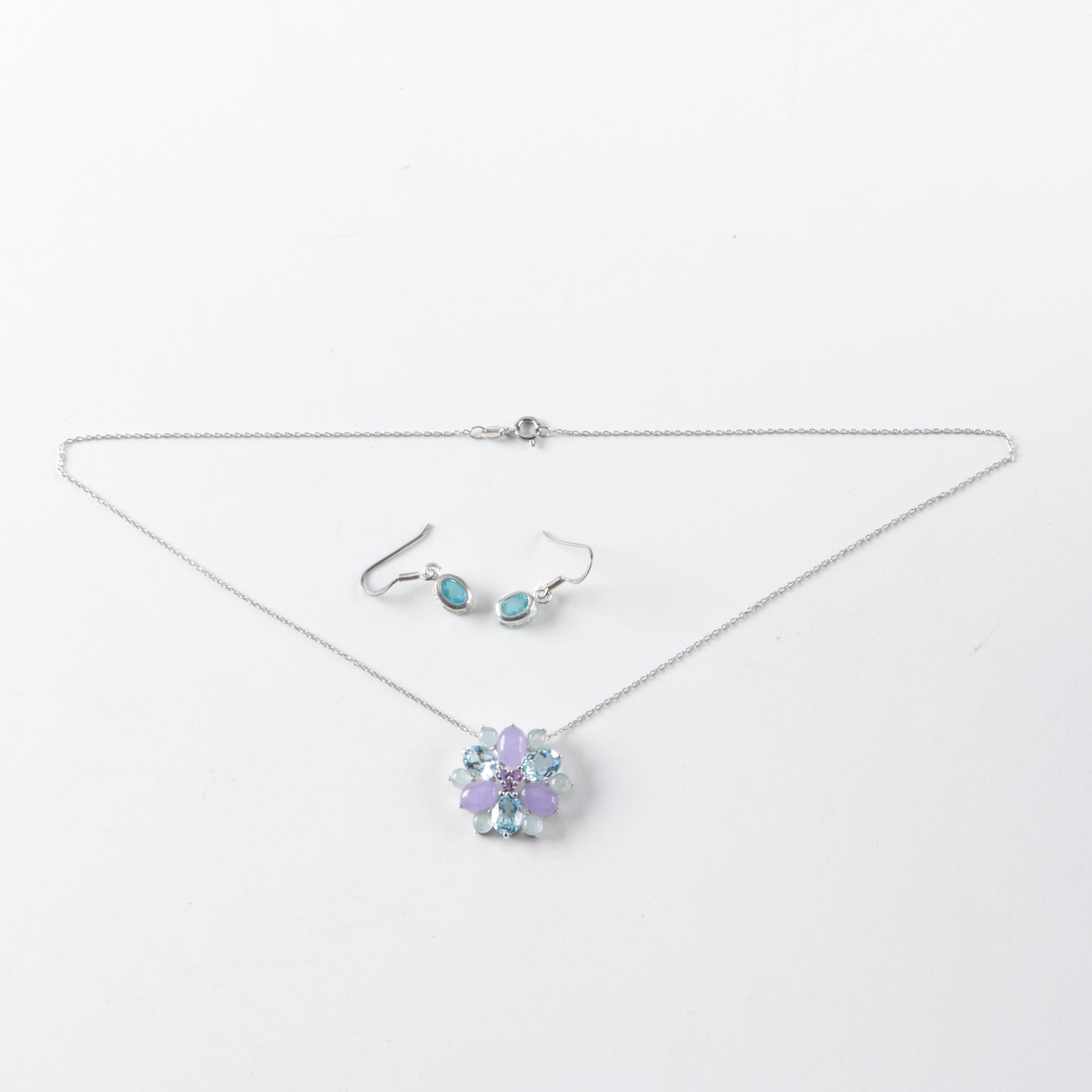 Sterling Silver Necklace and Earrings Featuring Blue Topaz