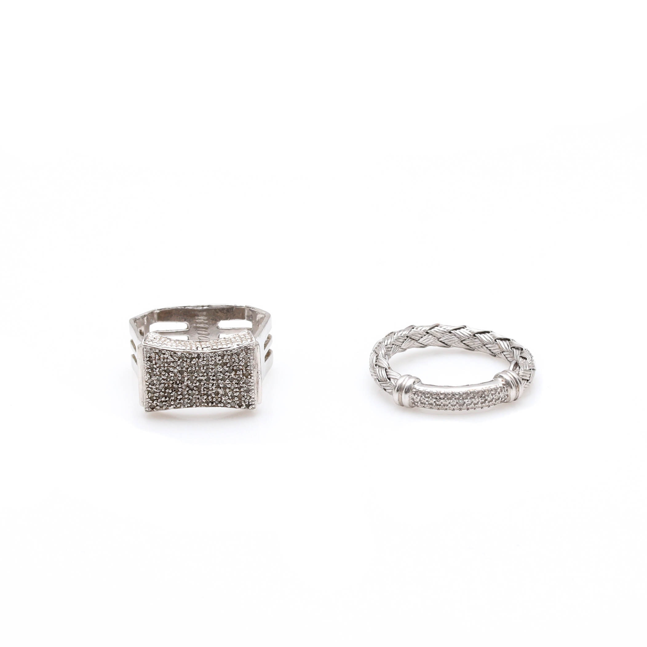 Sterling Silver Diamond Rings Including D'Landi