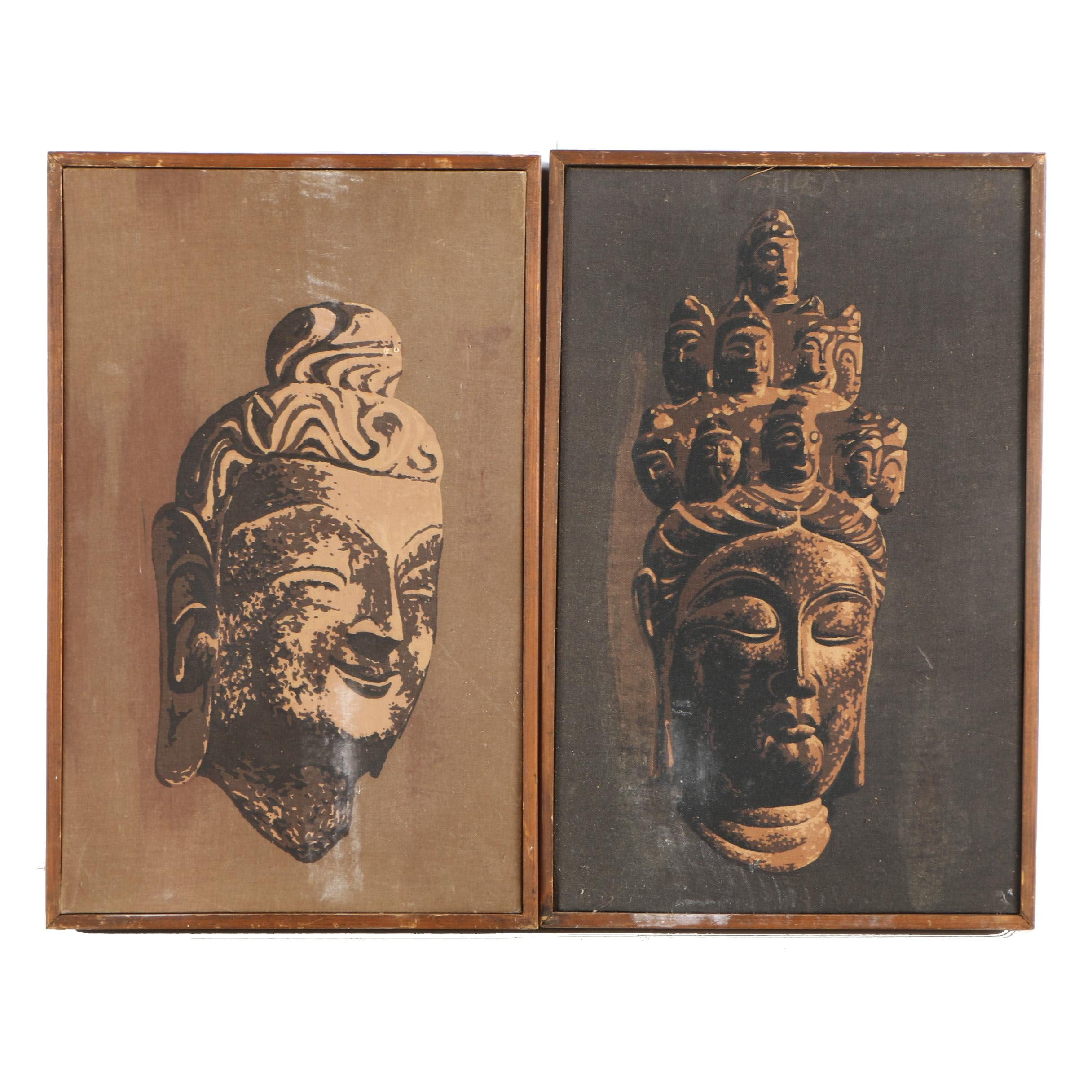 Serigraph Prints on Canvas of Buddhist Sculptures