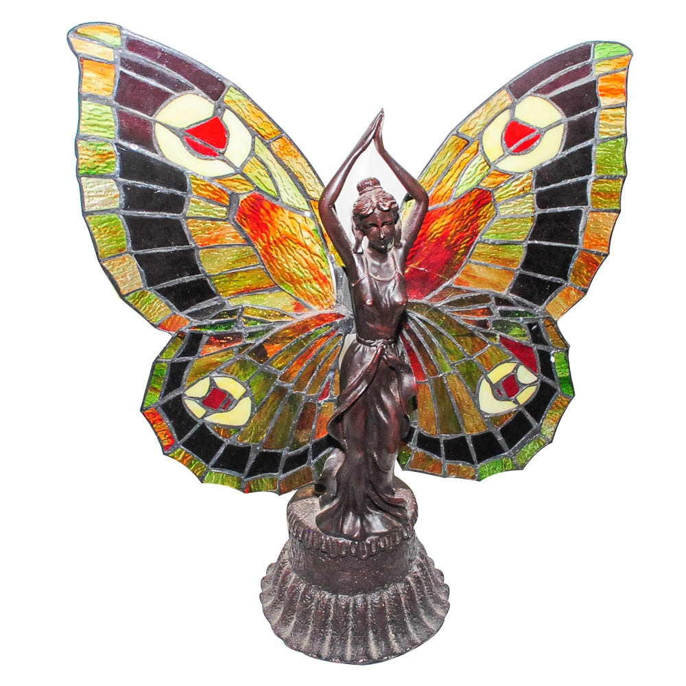 Butterfly Motif Tiffany Style Accent Lamp