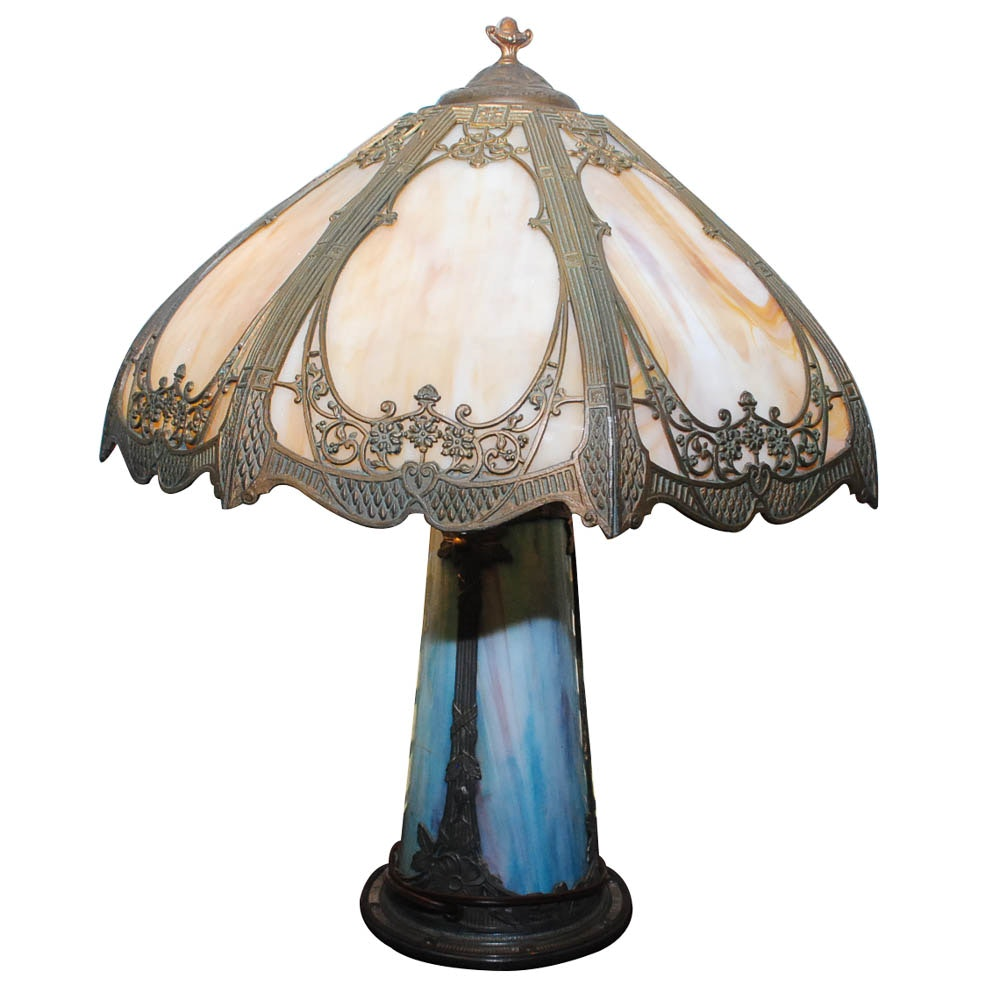 Vintage Tiffany Style Slag Glass Table Lamp Ebth