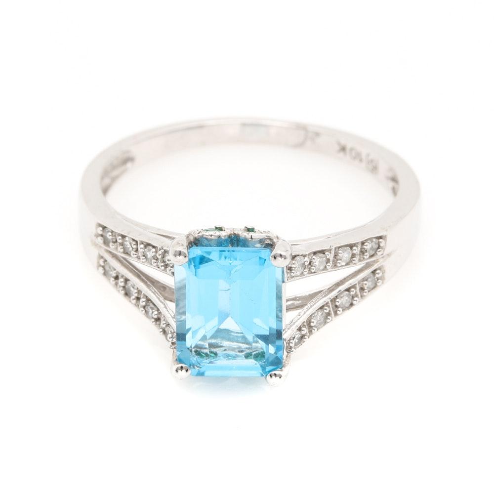 10K White Gold Blue Topaz, Emerald and Diamond Ring