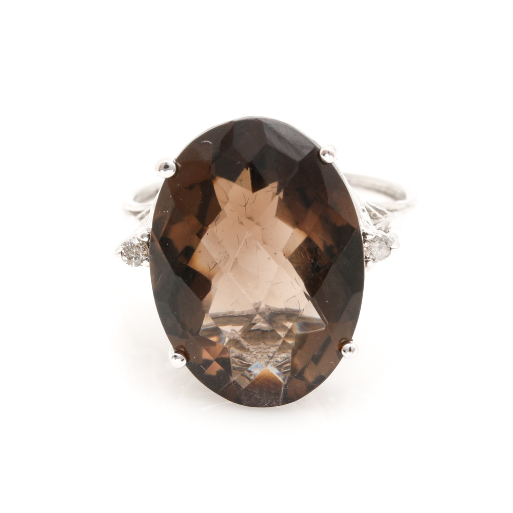 10K White Gold 10.40 CT Smoky Quartz Diamond Ring