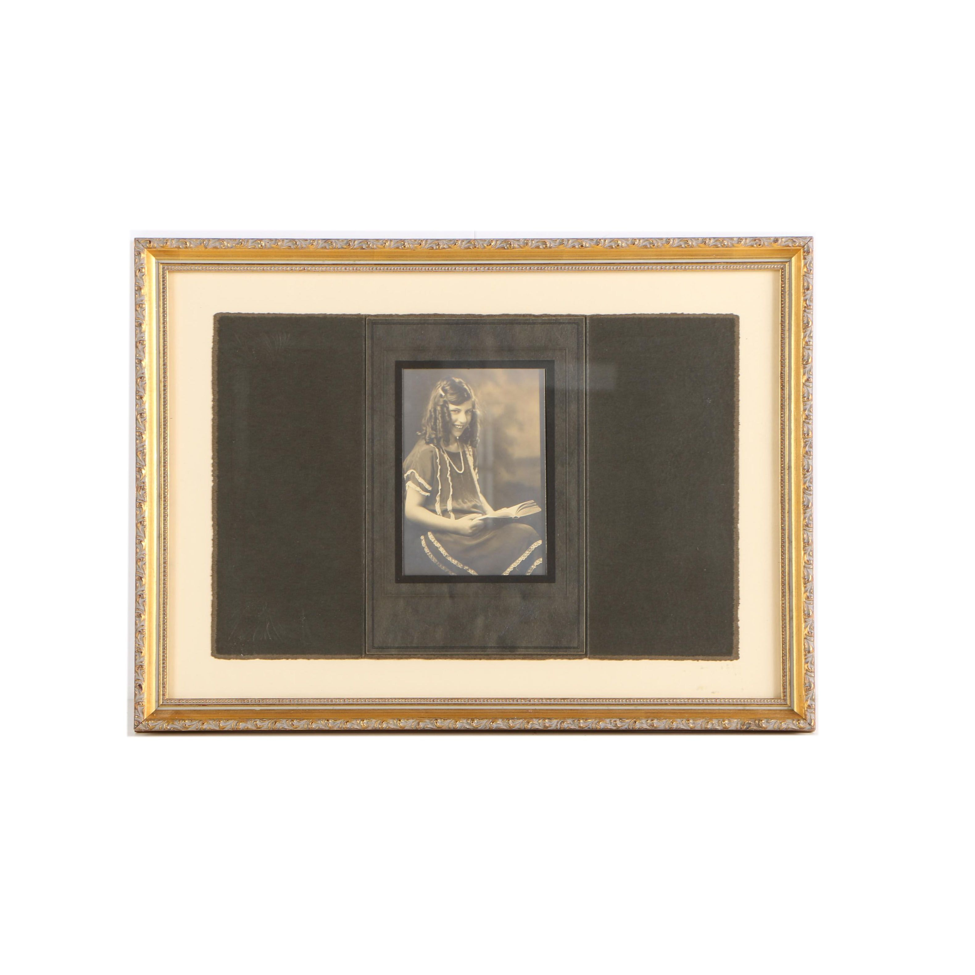 Signed Black and White Photograph on Paper in a Cabinet Card Held in Wood Frame