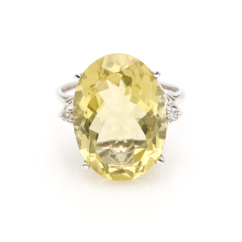 10K White Gold 10.55 CT Lemon Quartz and Diamond Ring
