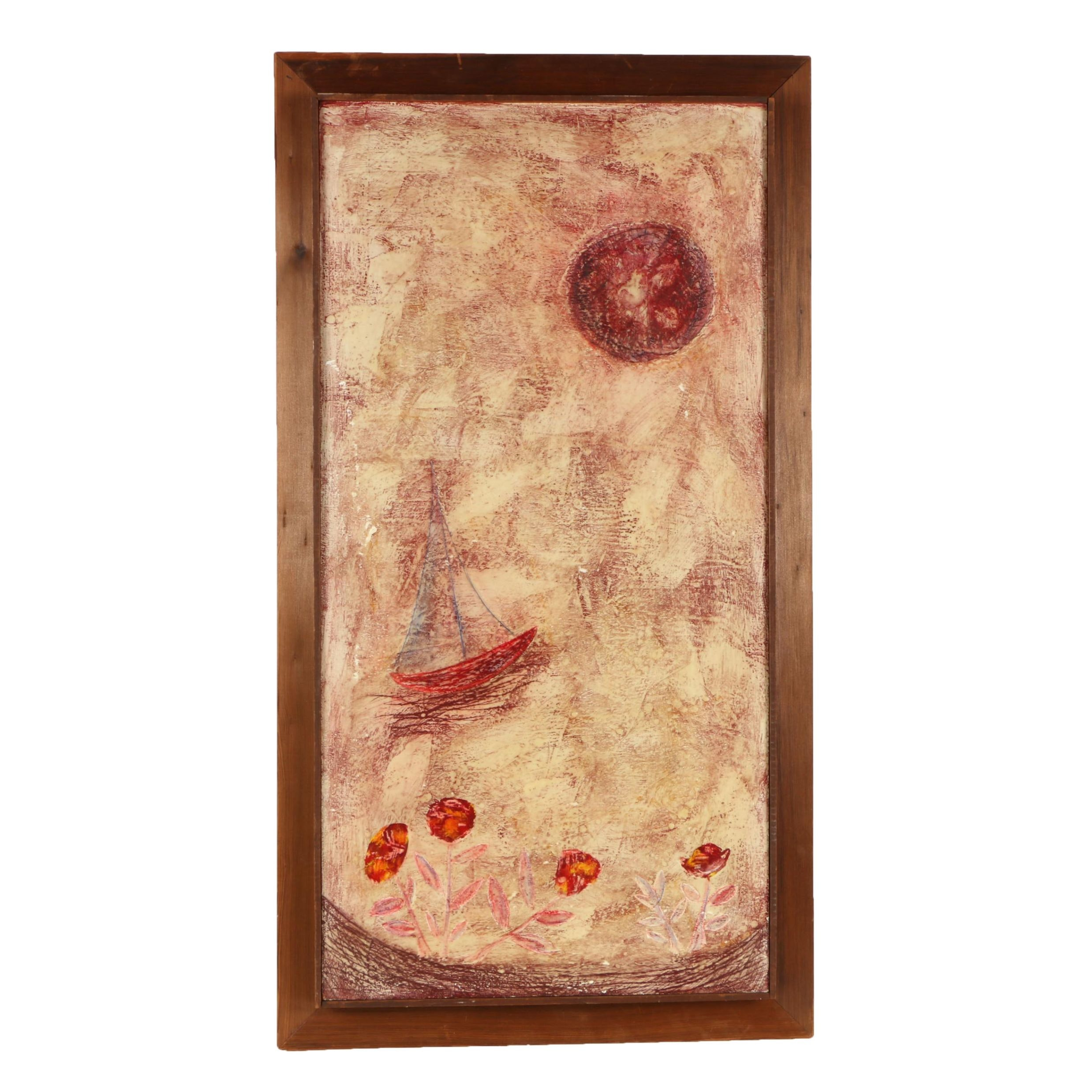 1960 John Hamilton Encaustic Painting on Masonite