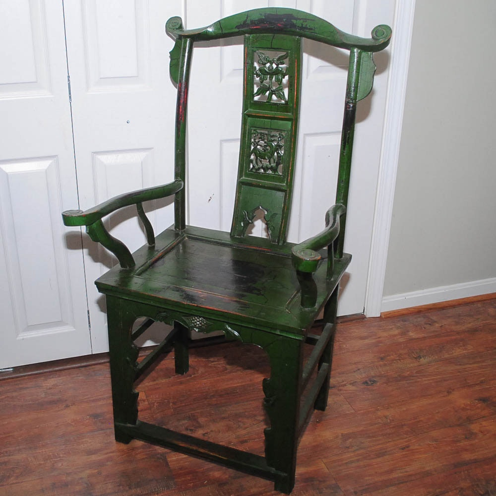Distressed Chinese Yoke-Back Chair ... & Distressed Chinese Yoke-Back Chair : EBTH