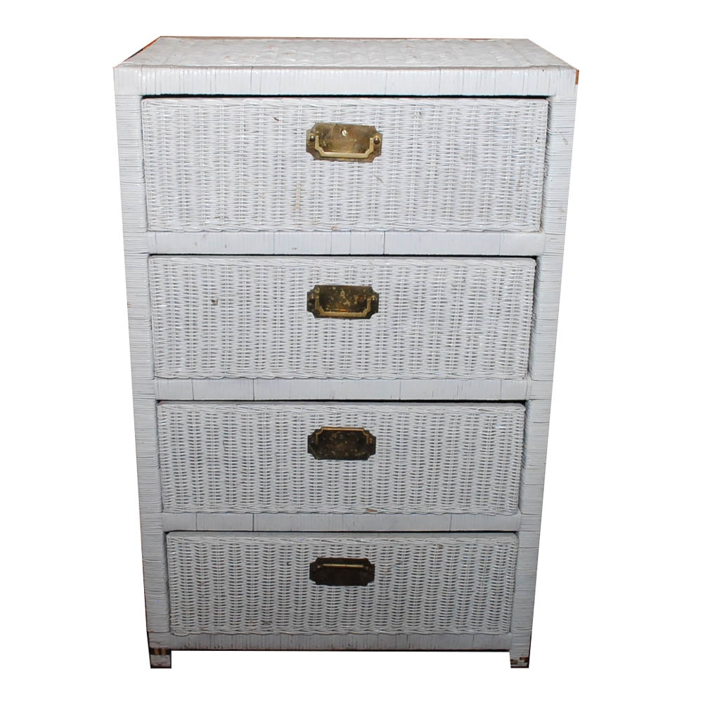 Painted Wicker Chest of Drawers