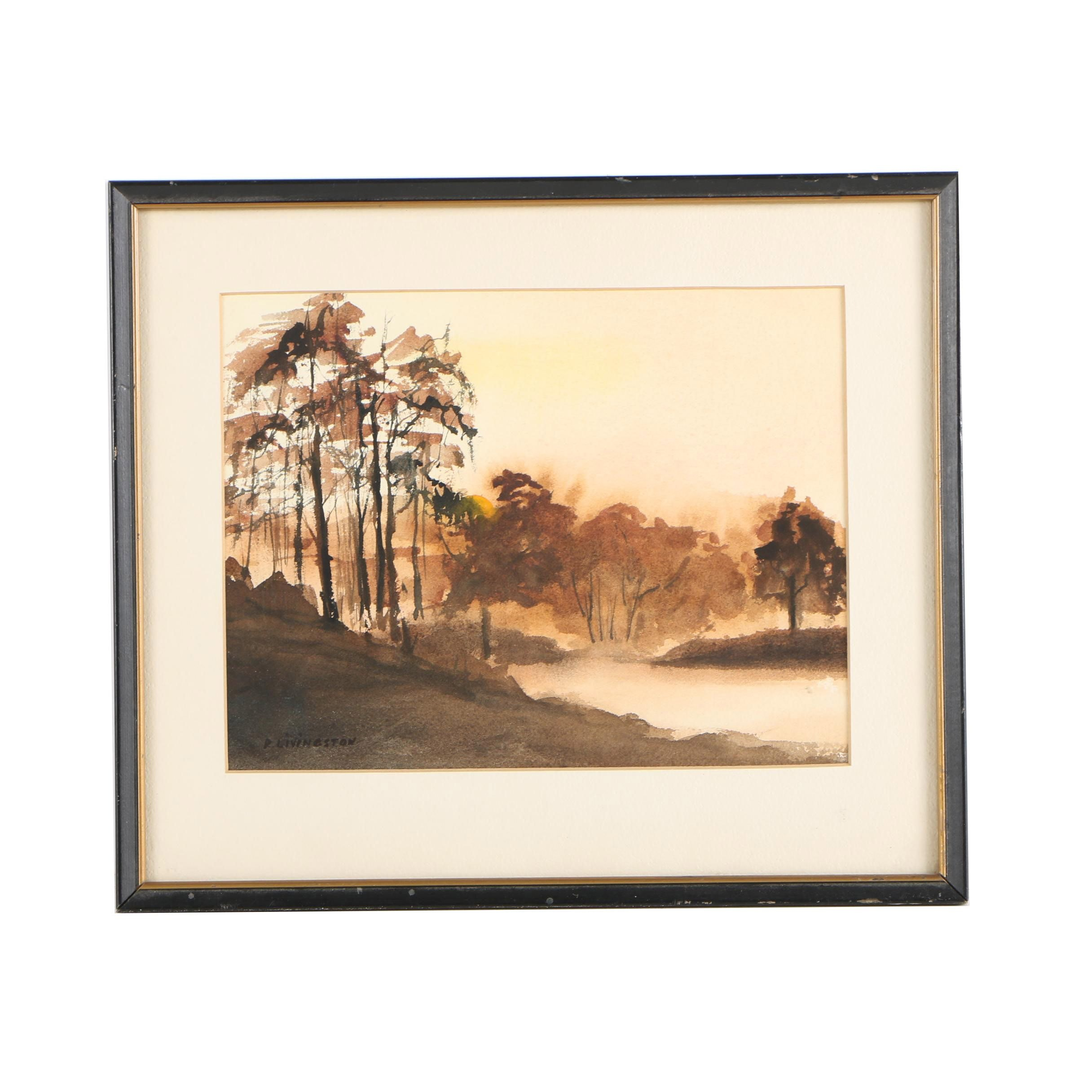 P. Livingston Watercolor Painting of Autumn Landscape