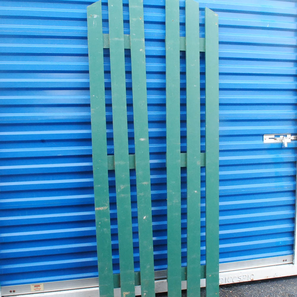 Green Painted Wood Arched Picket Fence Panels