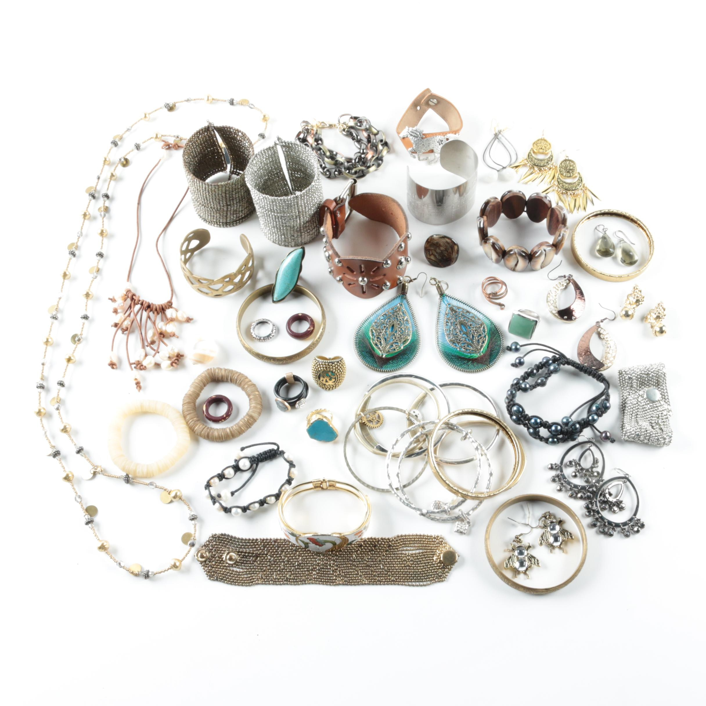 Silver and Gold Tone Gemstone Jewelry Assortment