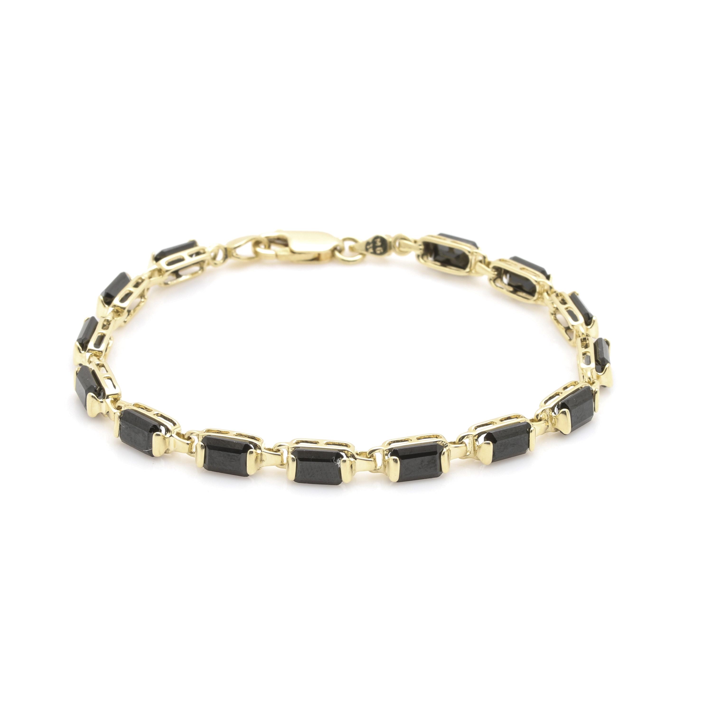 14K Yellow Gold Black Cubic Zirconia Bracelet