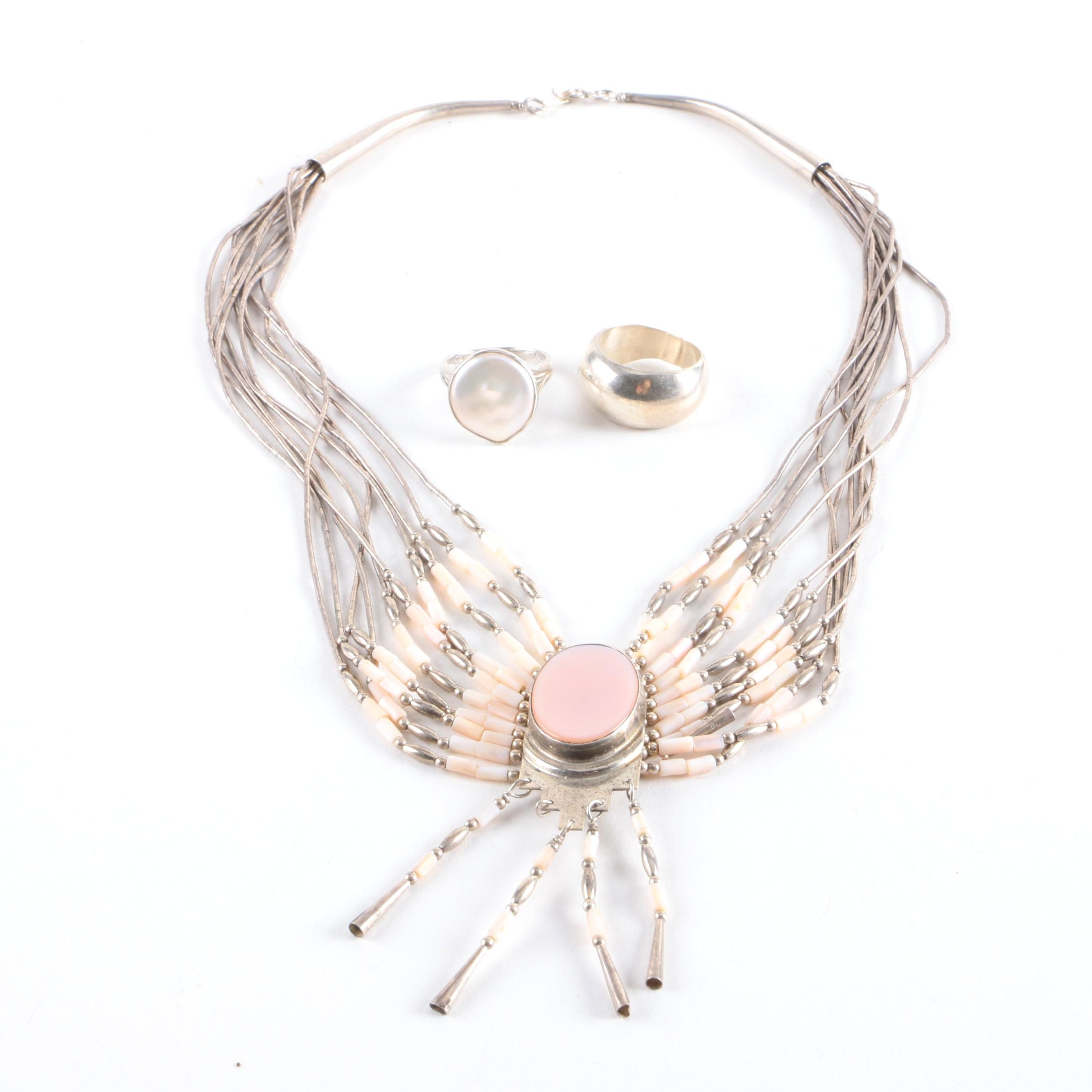 Sterling Silver Rings and Shell Necklace Including Cultured Pearls