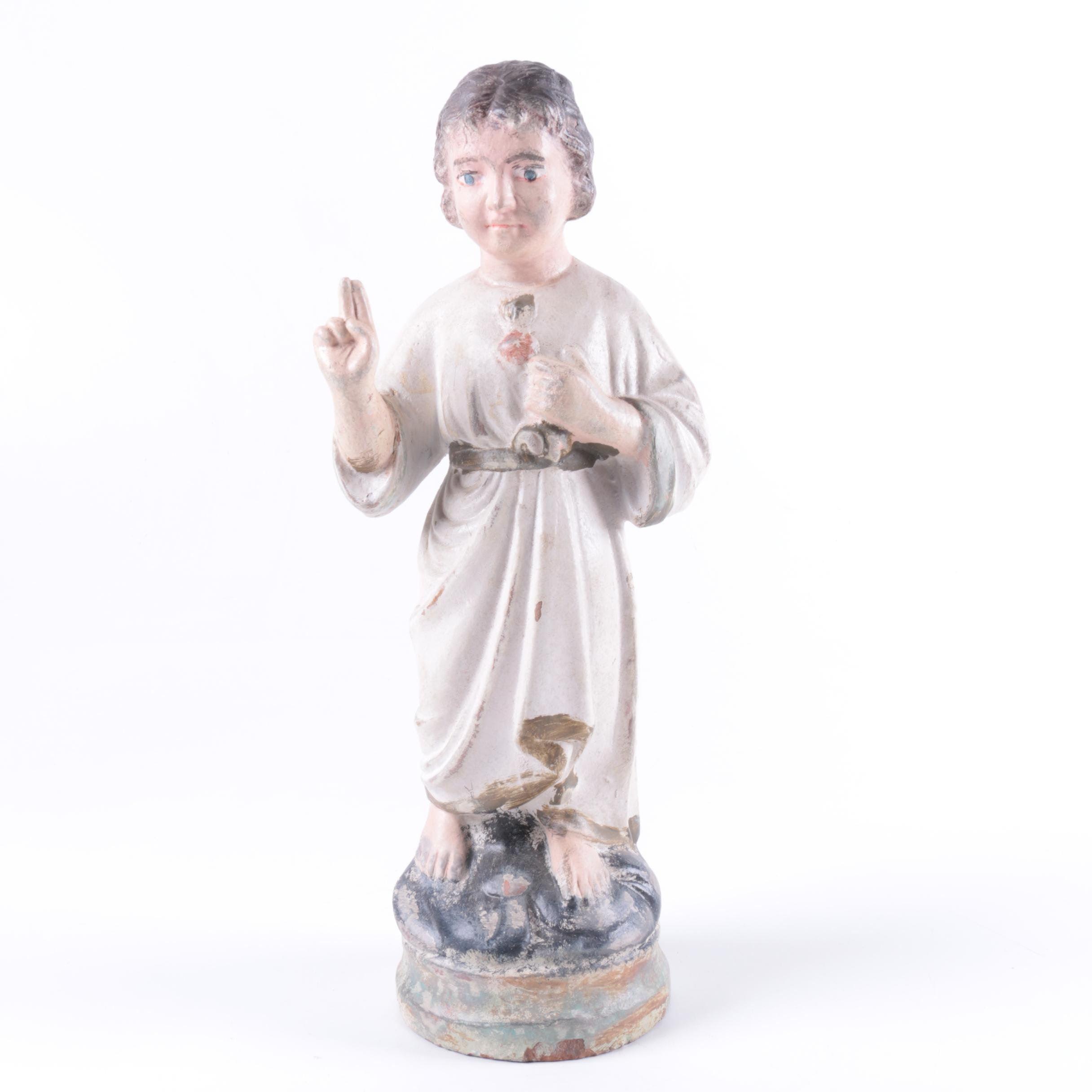Vintage Painted Earthenware Jesus Youth Figurine
