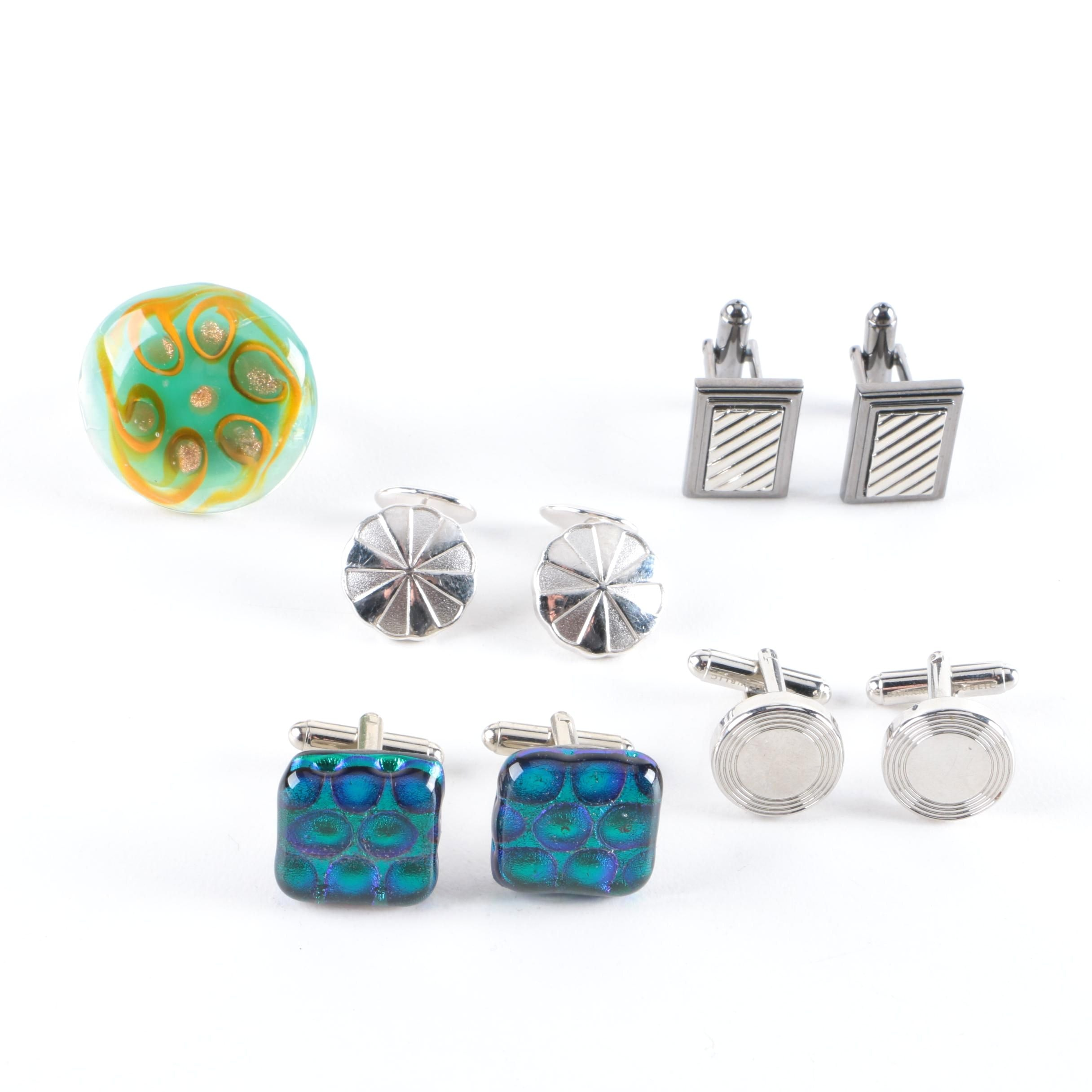 Sterling Silver Dichroic Glass Ring and Cufflinks