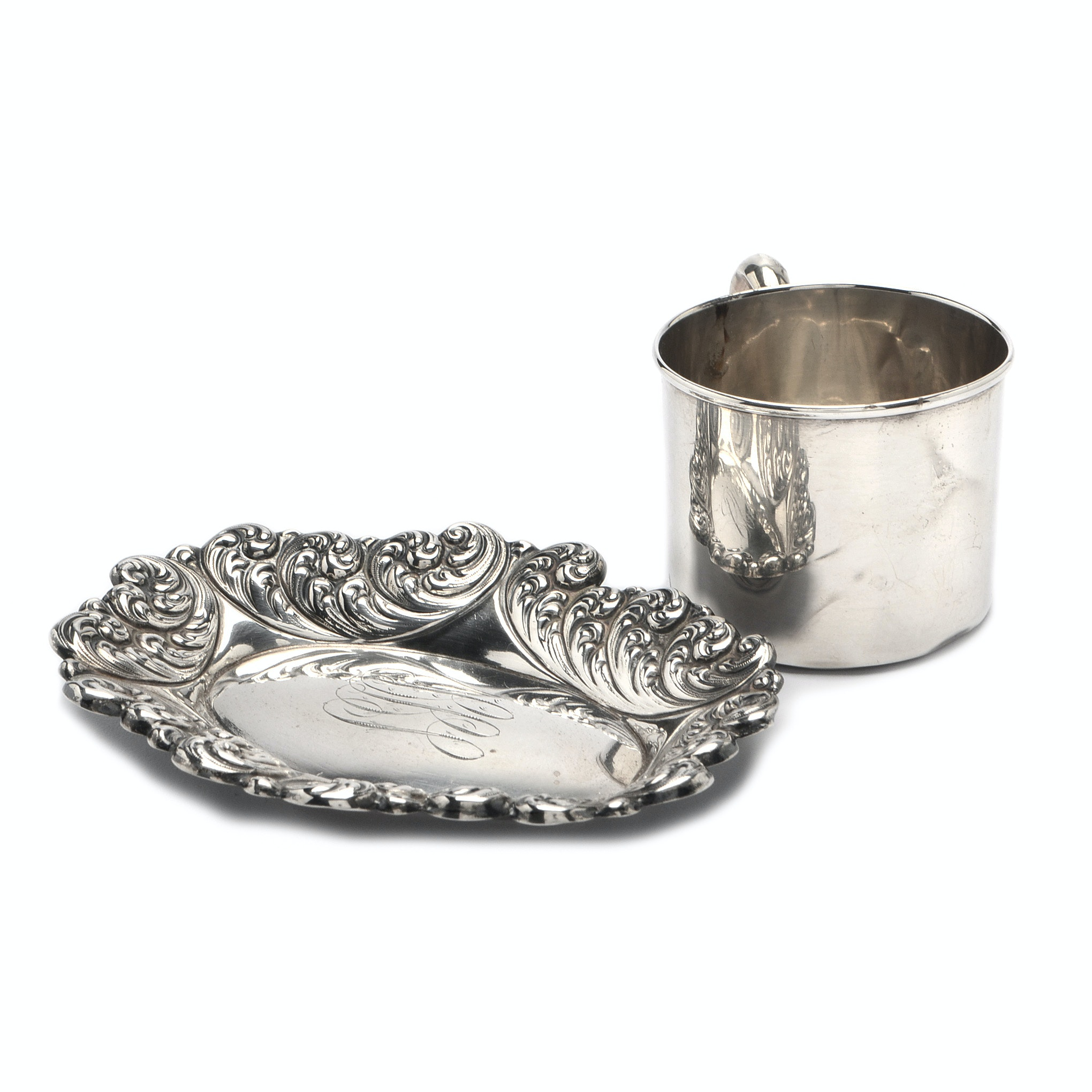 Simons Brothers Oval Sterling Silver Dish and Webster Cup