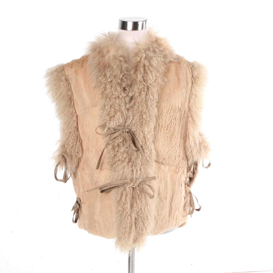 Women s Reversible Sheared Rabbit and Mongolian Lamb Fur Vest   EBTH af88c0c83d