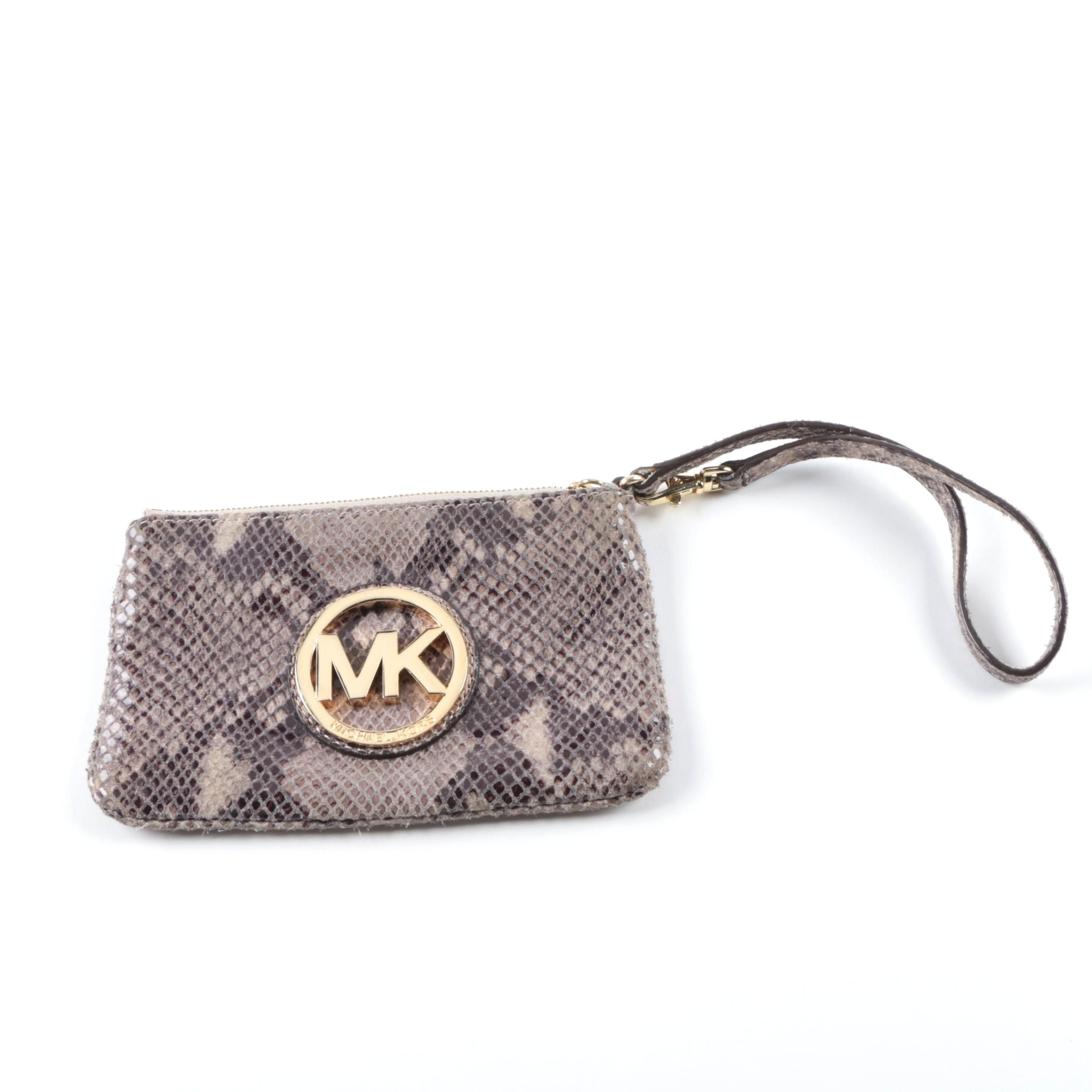 Michael Kors Embossed Python Skin Leather Wristlet