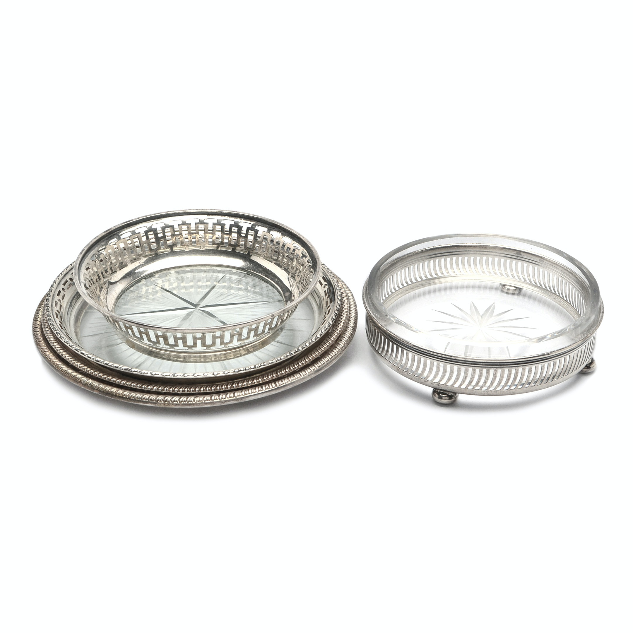 Gorham Mfg. Co. Sterling Silver and Cut Glass Coaster with Additional Coasters