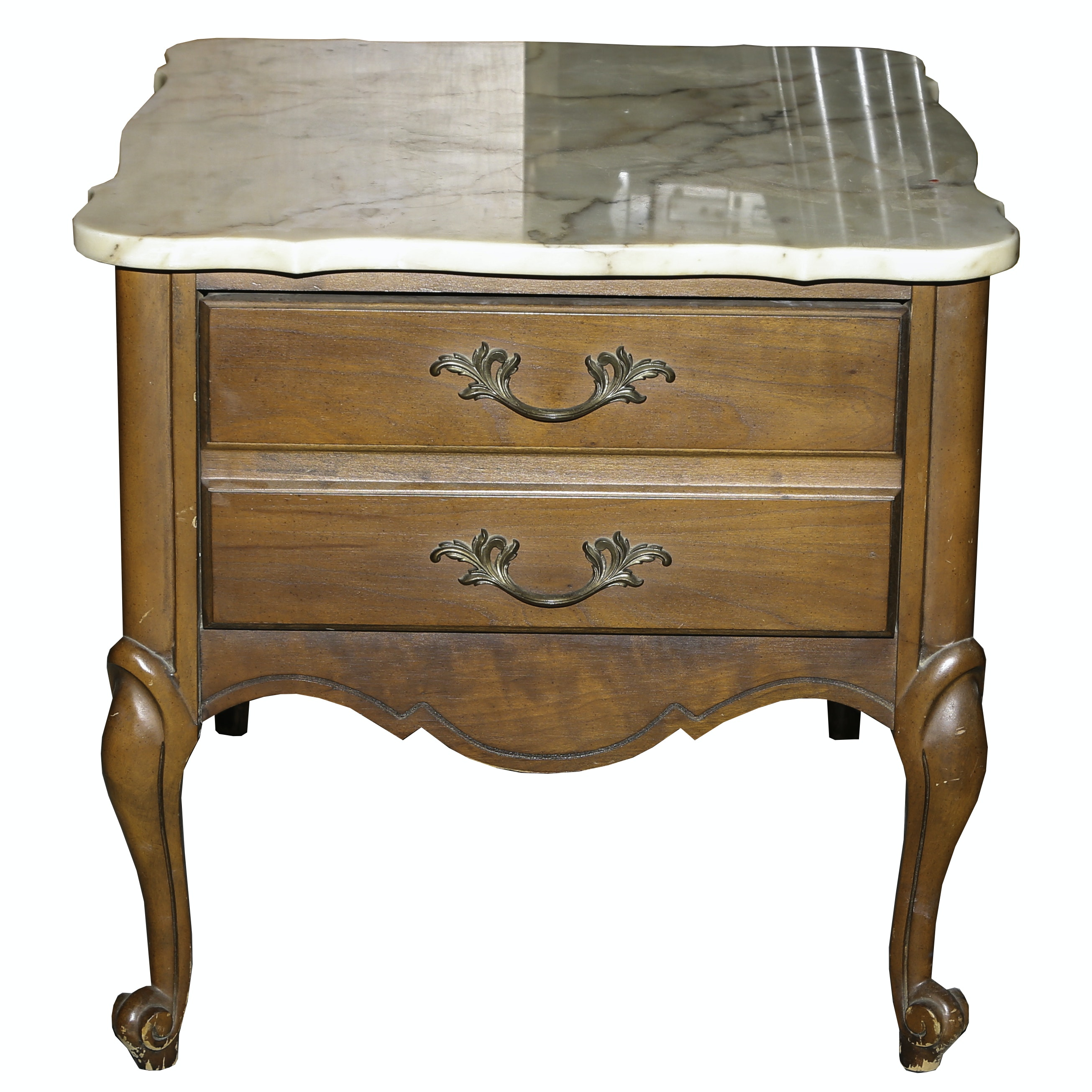 Vintage Marble Top French Provincial End Table