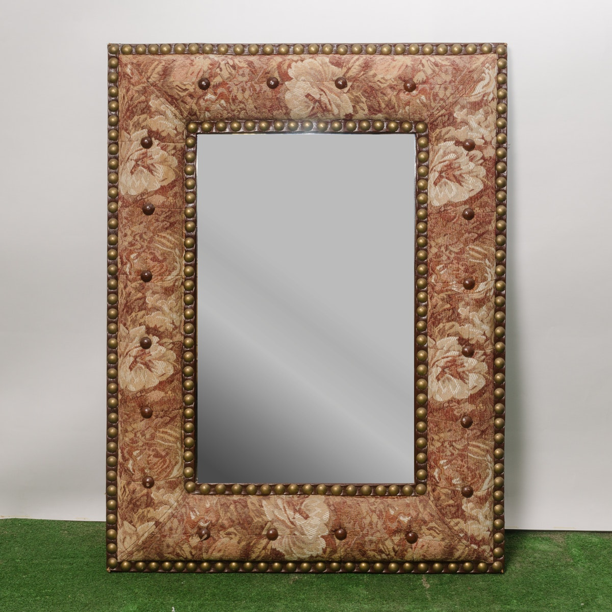 Carved Wood Wall Mirror with Nail Head Trim