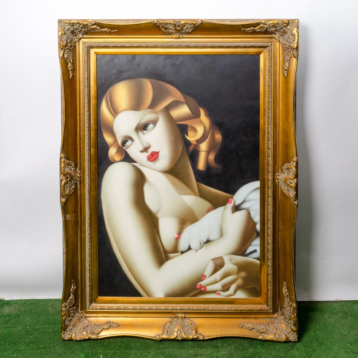 "Copy Painting After Tamara de Lempicka ""Woman with Dove"""