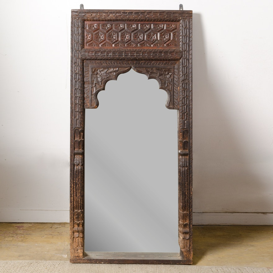 Vintage Carved Wooden Wall Mirror With Arched Frame