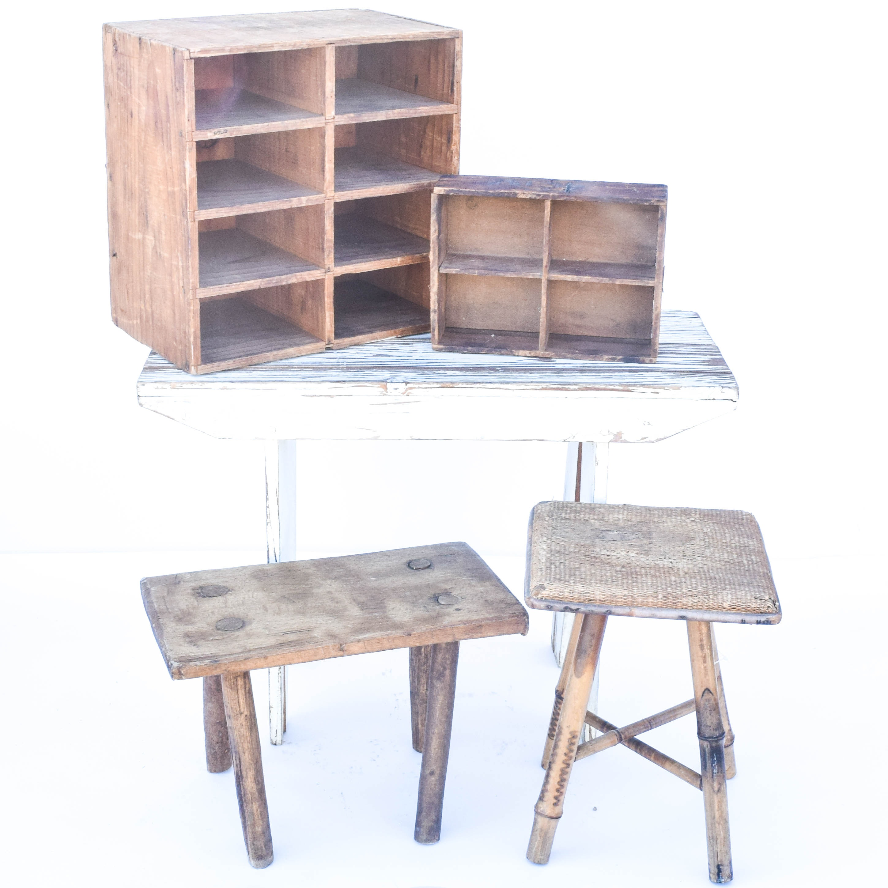 Distressed Style Wooden Display Shelves and Stands