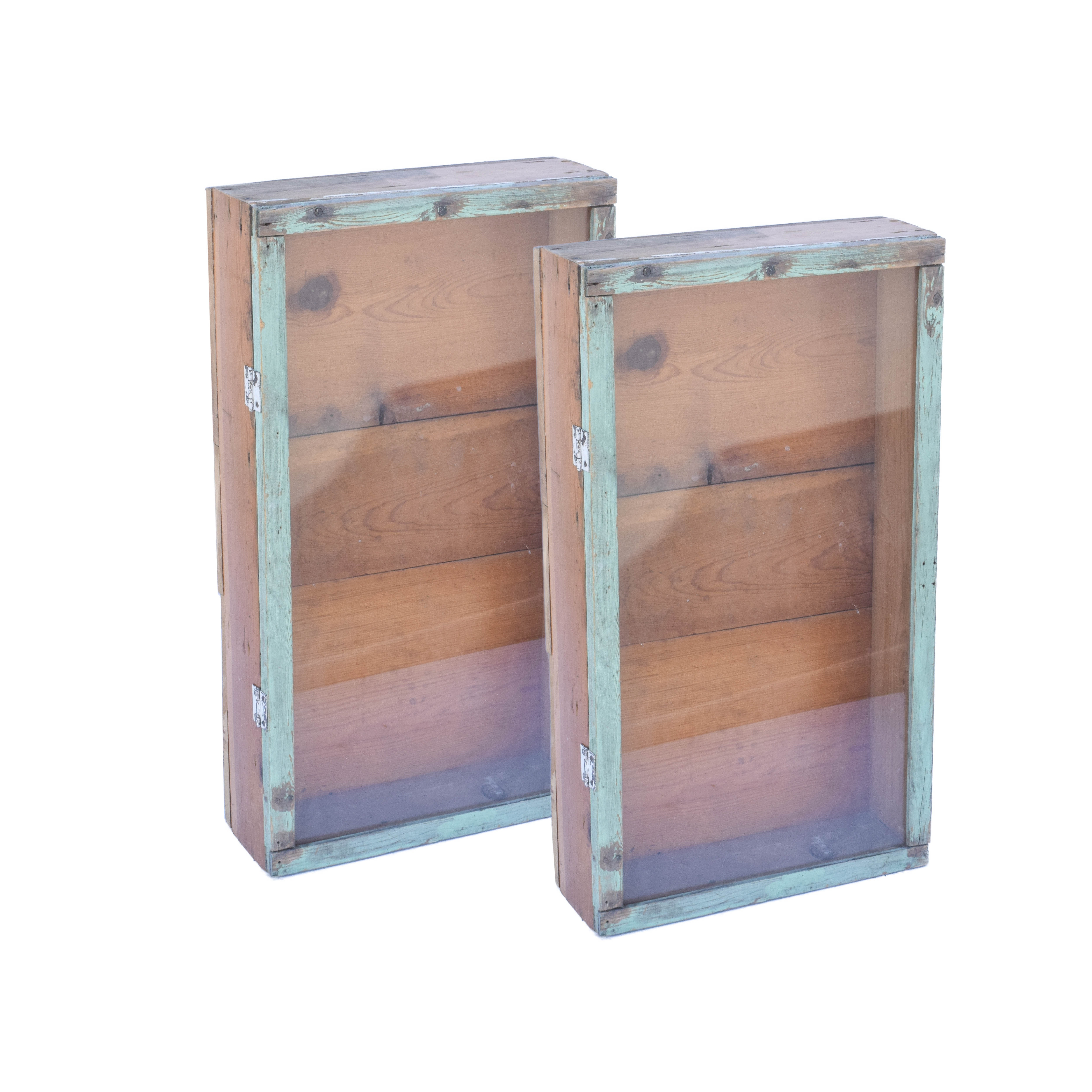 Distressed Wooden Display Cabinets