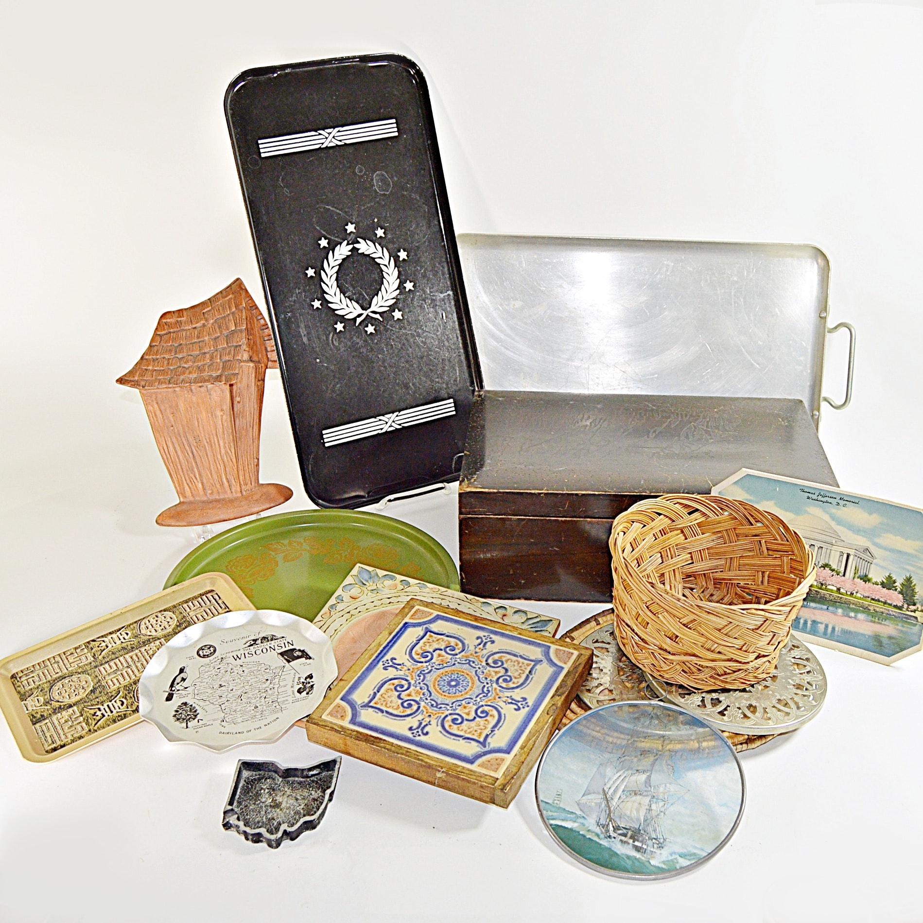 Vintage Trays, Tiles, Wooden Box and Baskets with Enamelware