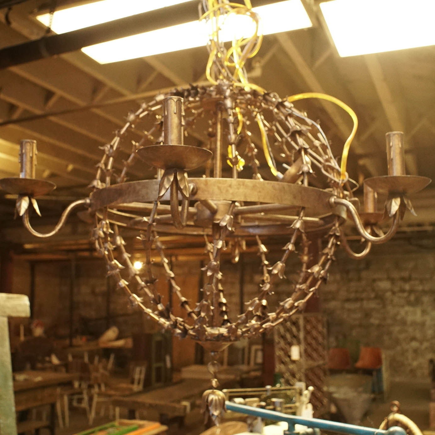 Metal Orb-and-Wheel Chandelier
