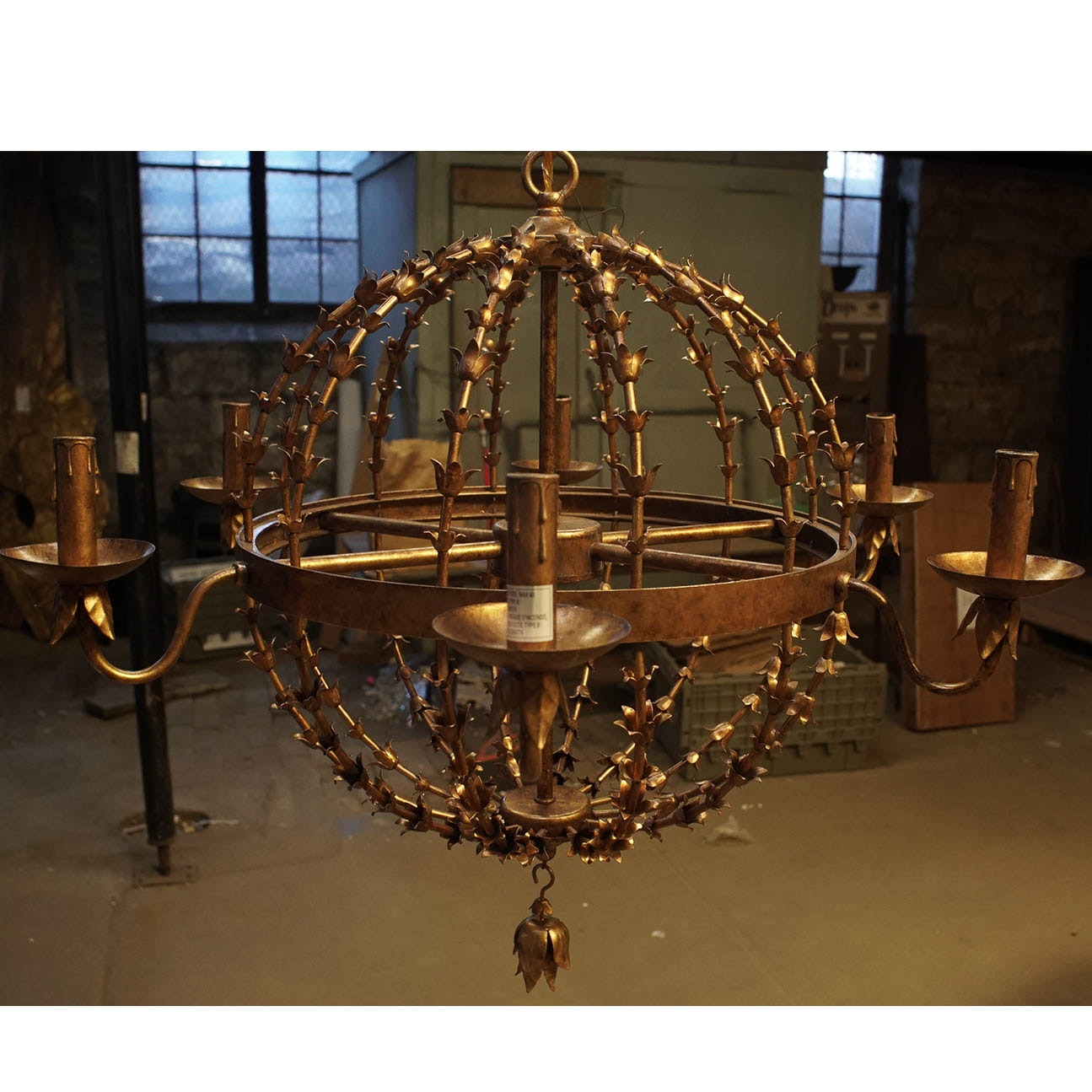 Spherical Gold Tone Metal Chandelier