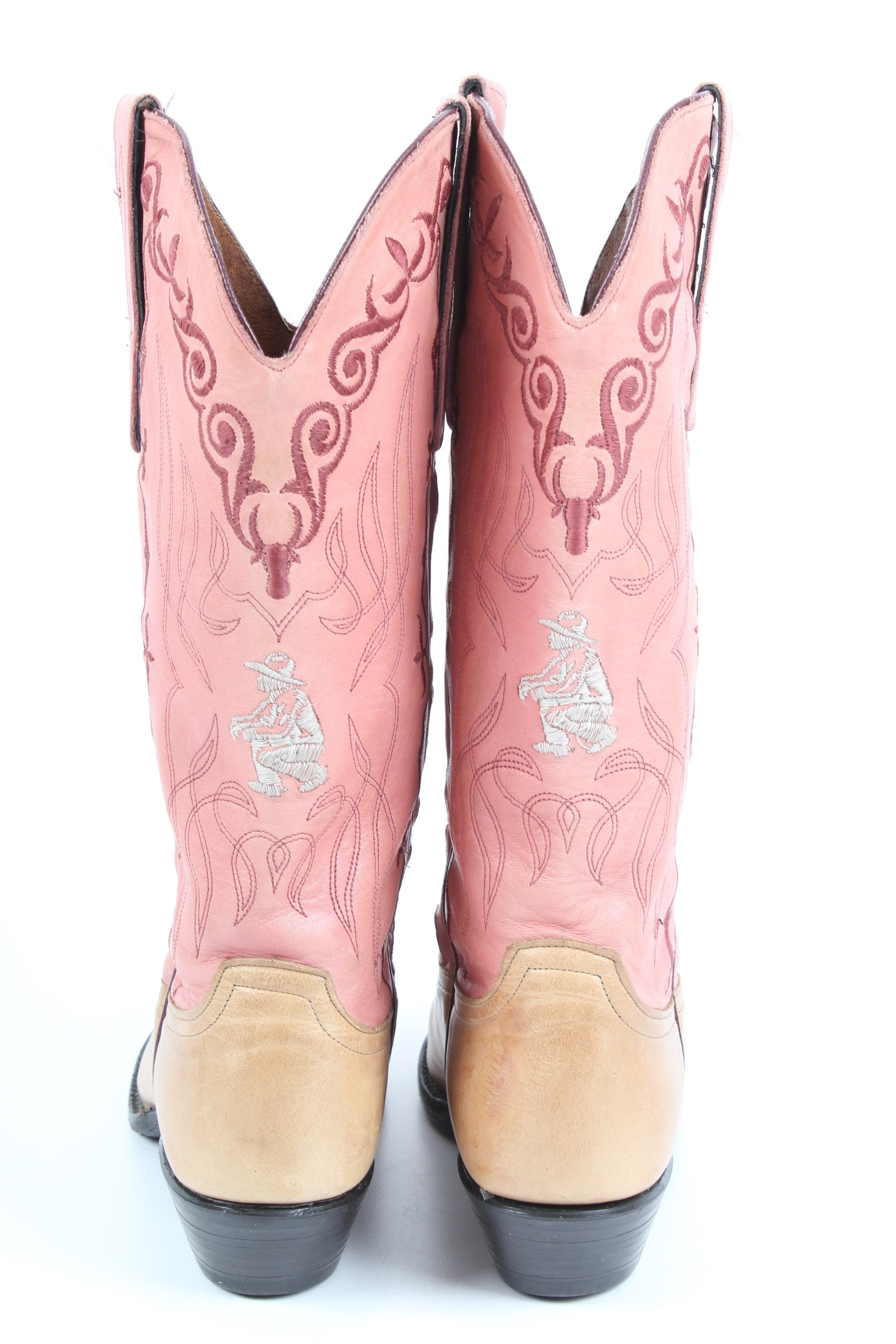 Women S Larry Mahan Pink Leather Cowboy Boots Ebth