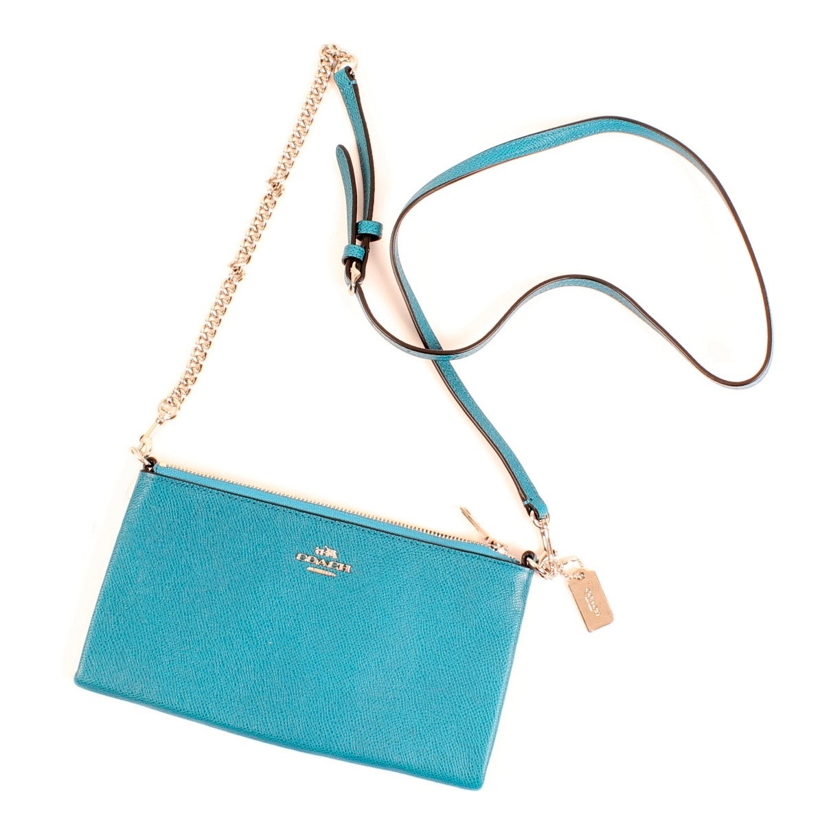 Coach Teal Leather Crossbody Purse