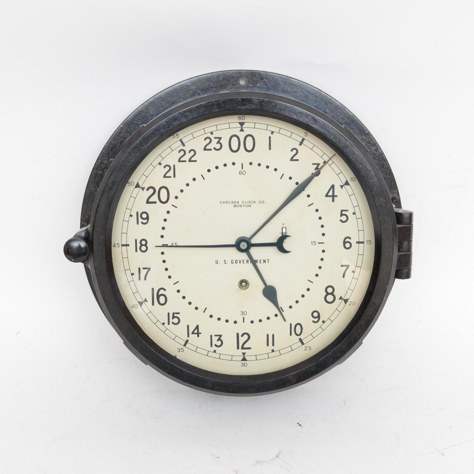 Chelsea Boston U.S. Government Ship's Clock, circa 1965-1969