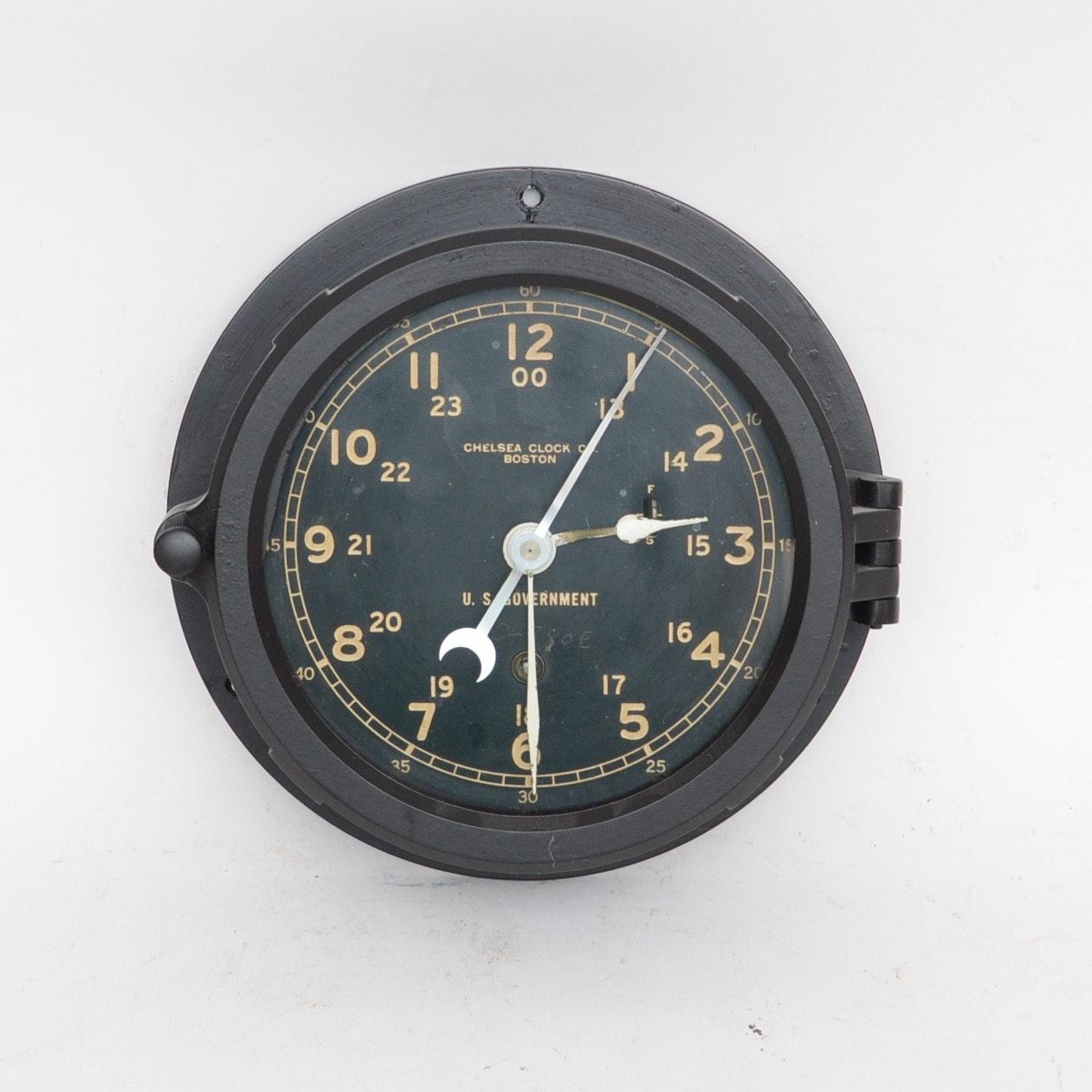 Chelsea Boston U.S. Government Ship's Clock, circa 1940-1944
