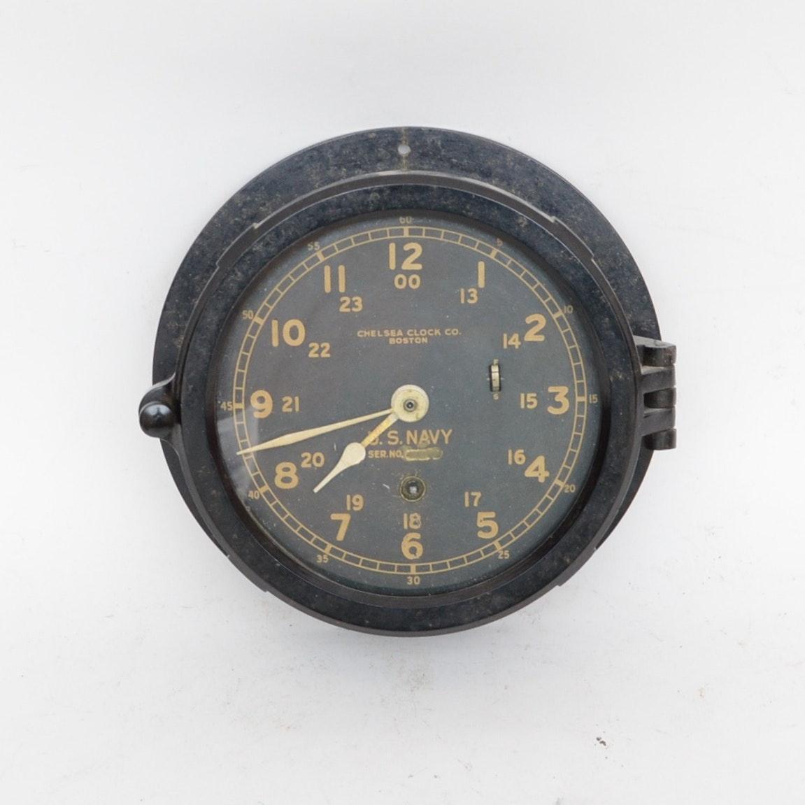 Chelsea Boston U.S. Navy Ship's Clock, circa 1940-1944