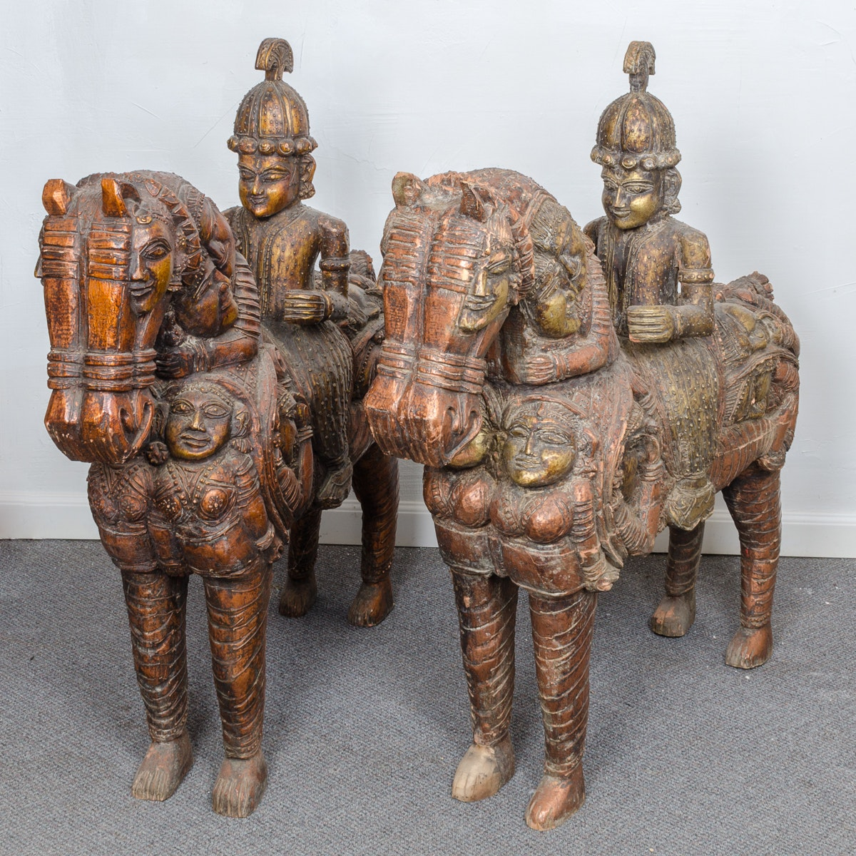South Indian Carved Wooden Statues of Warriors on Horseback