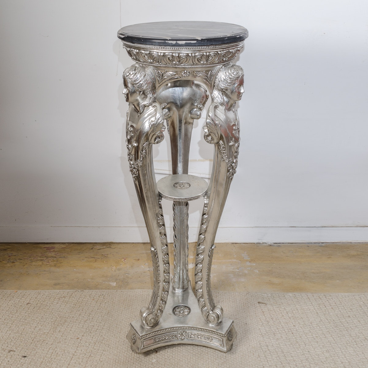 Louis XV Style  Metal Pedestal with Stone Top