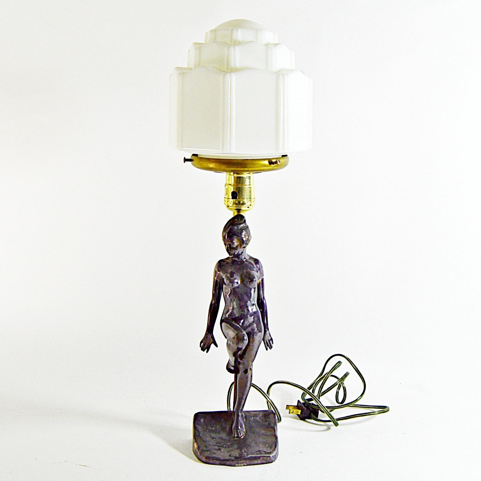 Art Deco Nude Figural Lamp