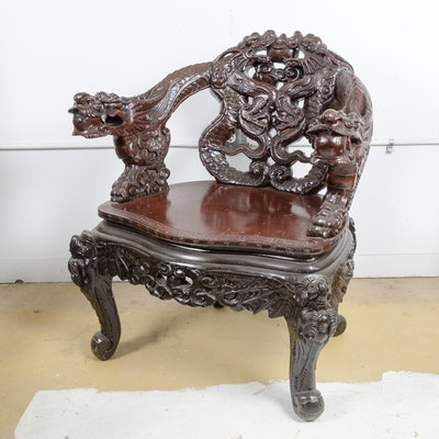 Chinese Dragon Carved Chair - Vintage Chairs, Antique Chairs And Retro Chairs Auction In Art
