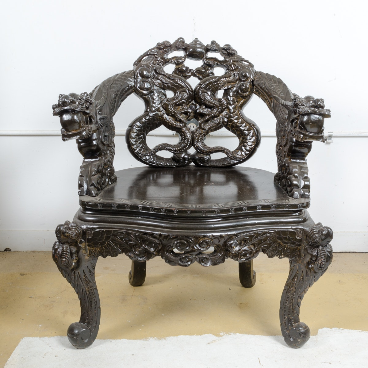 Chinese Dragon Carved Arm Chair