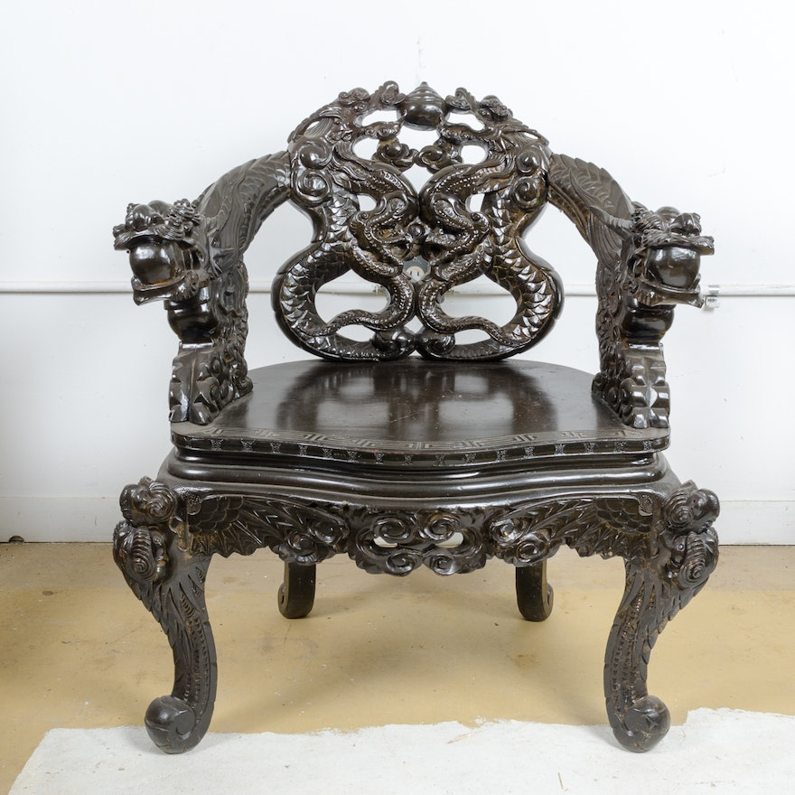 Chinese Dragon Carved Arm Chair ... - Chinese Dragon Carved Arm Chair : EBTH