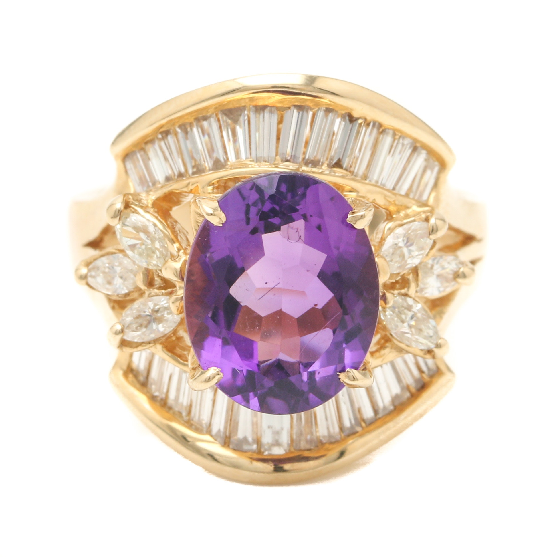 14K Yellow Gold Amethyst and 1.48 CTW Diamond Ring