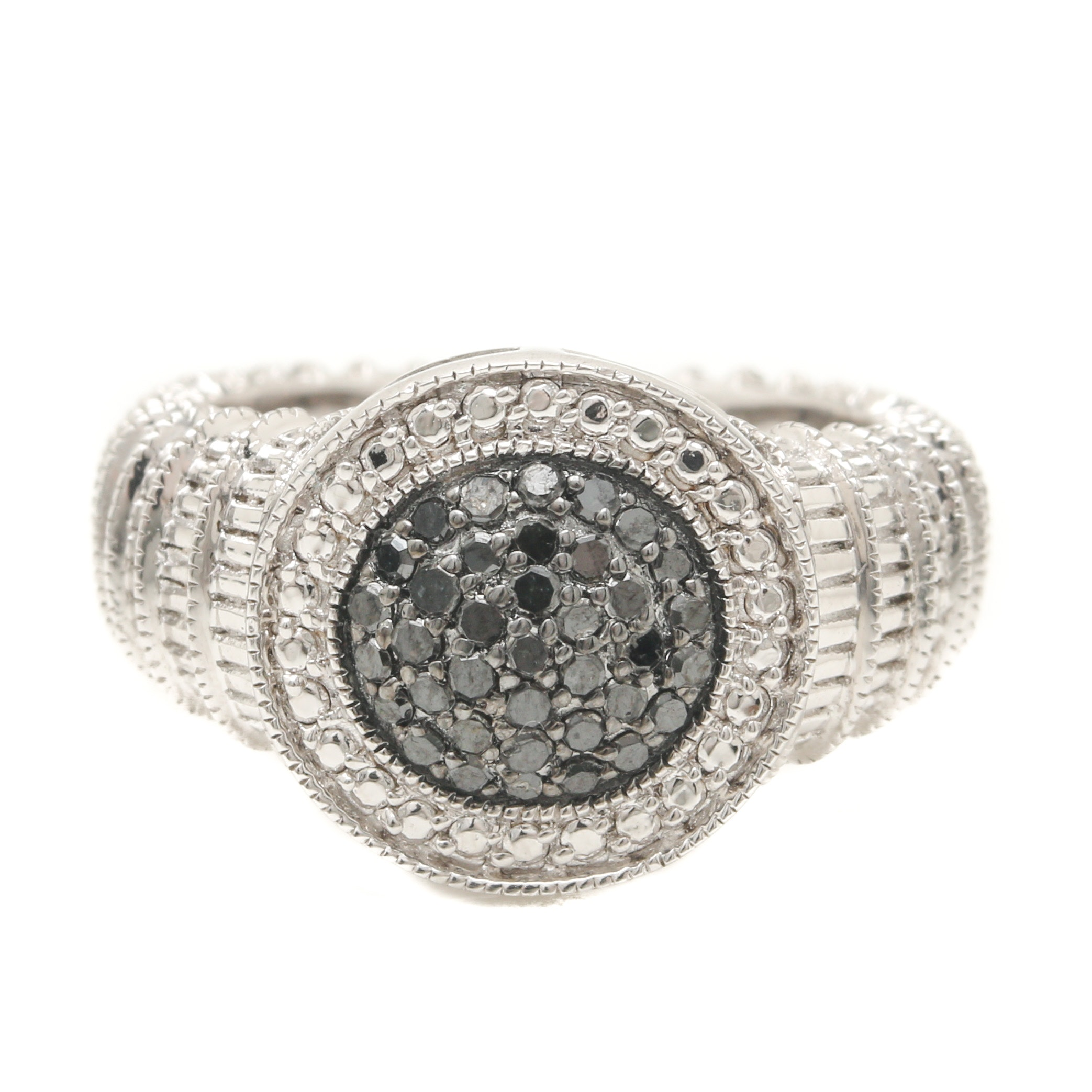 Sterling Silver Diamond Beveled Ring