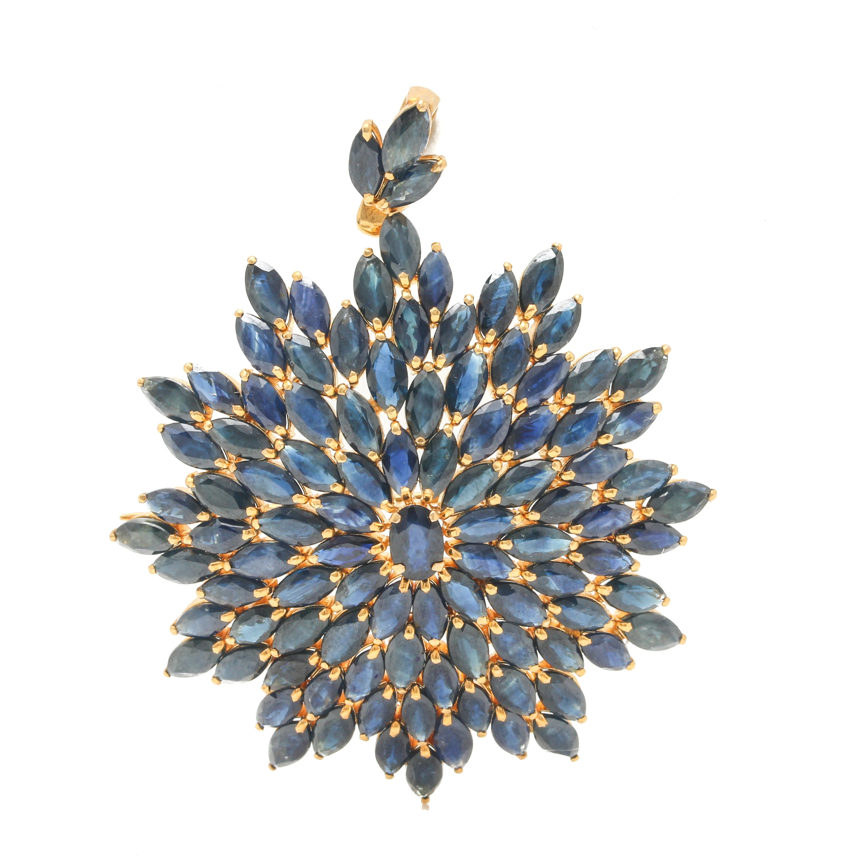 14K Yellow Gold Sapphire Floral Pendant Brooch