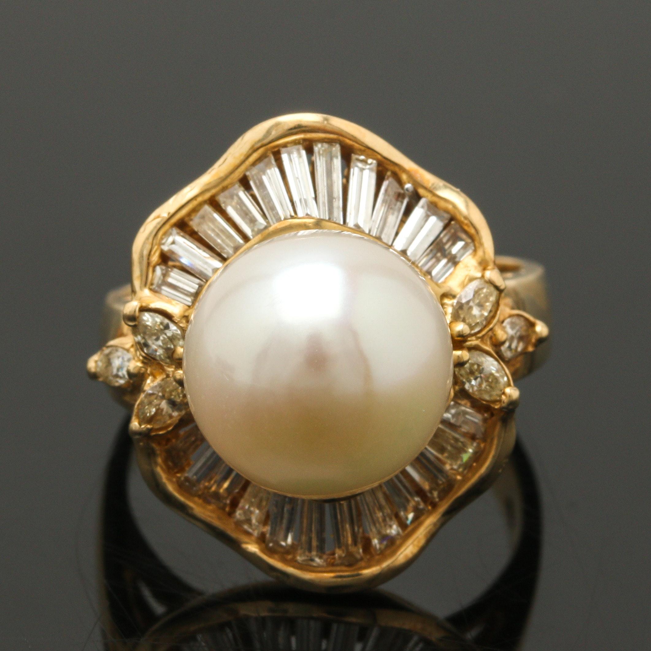 14K Yellow Gold Pearl 1.05 CTW Diamond Ring