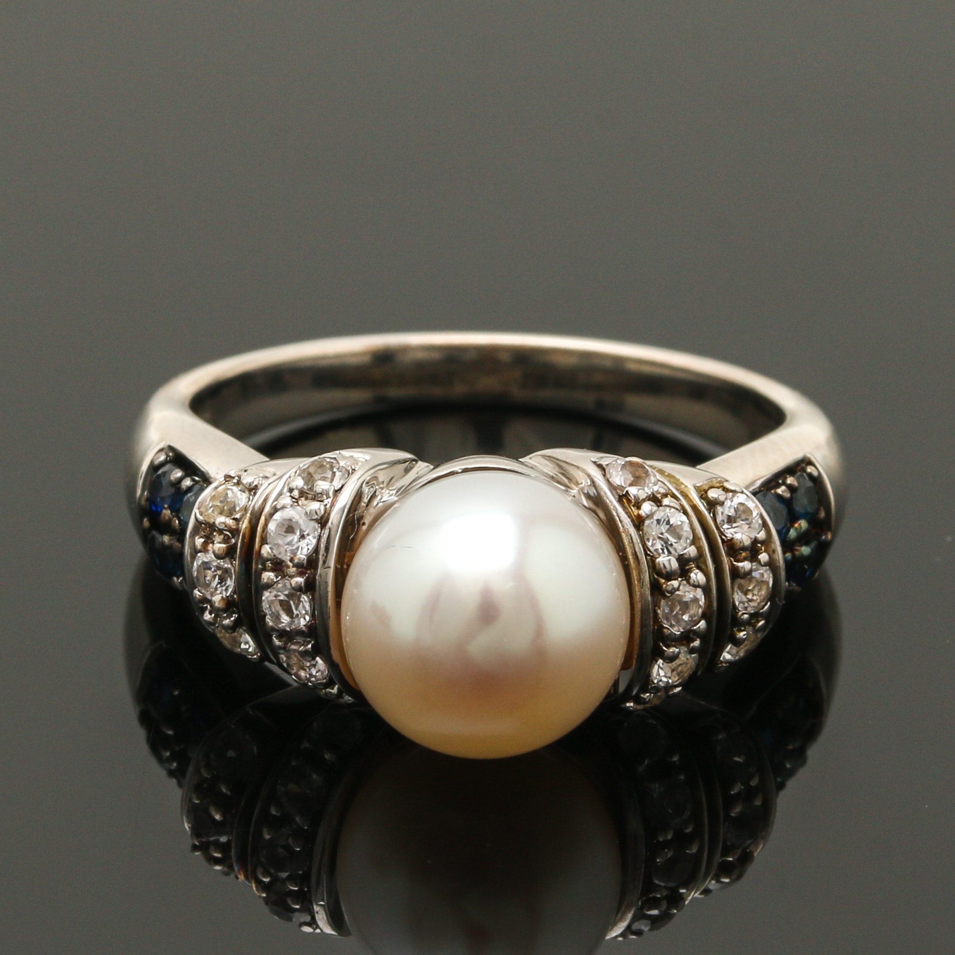 Alwand Vahan Sterling Silver Cultured Pearl and Sapphire Ring